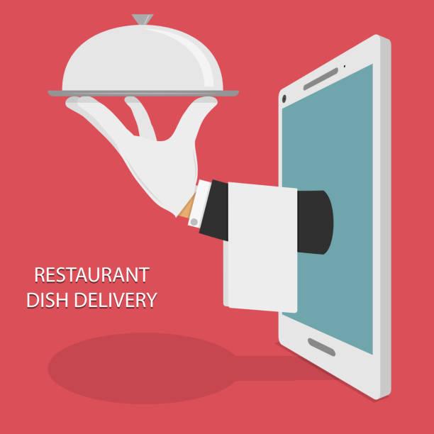 bildbanksillustrationer, clip art samt tecknat material och ikoner med restaurant food delivery concept illustration. - on demand