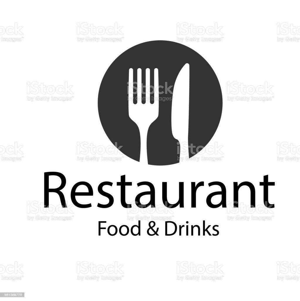Restaurant nourriture & boissons Logo fourchette couteau Background Image vectorielle - Illustration vectorielle