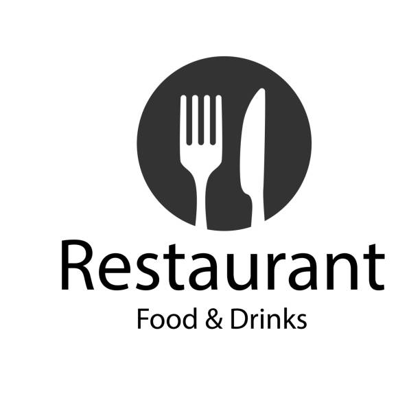 illustrazioni stock, clip art, cartoni animati e icone di tendenza di restaurant food & drinks logo fork knife background vector image - cena