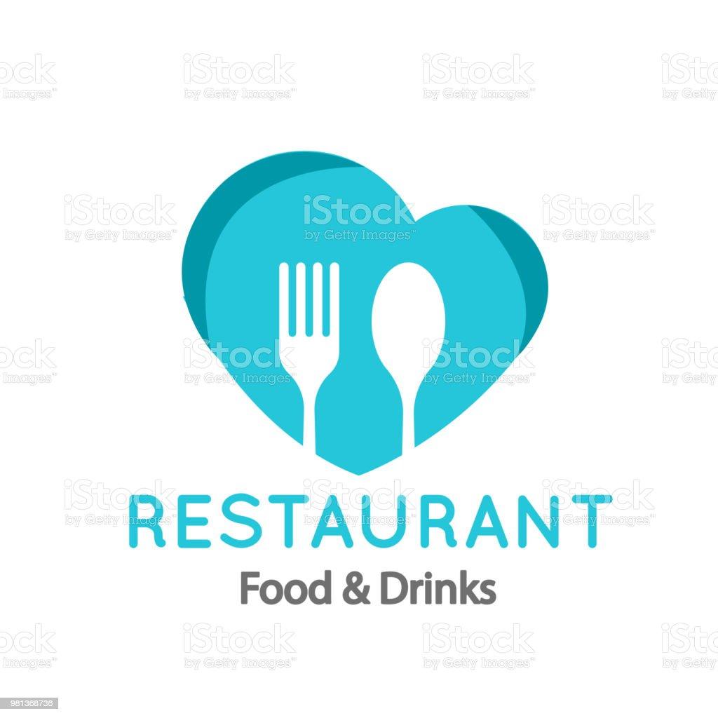 Das Essen Im Restaurant Getränke Logo Gabel Löffel Herz Hintergrund ...