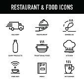 Restaurant & Food Icon Set - Thick Line Series