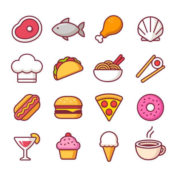 レストラン食品アイコンを設定 - ラーメン点のイラスト素材/クリップアート素材/マンガ素材/アイコン素材