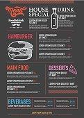 Restaurant Food Menu Design with Chalkboard Background Stock Vector Illustration.
