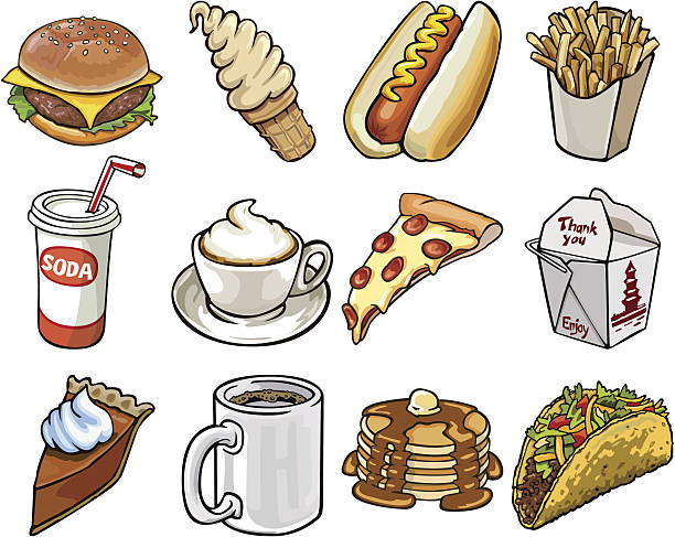 restaurant food on the go vector art illustration