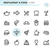 20 Outline Style - Black line - Pixel Perfect icons / Set #78 Icons are designed in 48x48pх square, outline stroke 2px.  First row of outline icons contains:  Teapot, Cooked Fish, Crossed Fork and Table Knife, Chef's Hat, Martini Glass;  Second row contains:  Slice of Cake, Shrimp - Seafood, Croissant, French Fries, Hamburger;  Third row contains:  Serving Tray, Grilled Sausage, Pizza, Coffee Cup, Steak;   Fourth row contains:  Beer Glass, Apple - Fruit, Panna Cotta, Wineglass, Cooked roast chicken.  Complete Primico collection - https://www.istockphoto.com/collaboration/boards/NQPVdXl6m0W6Zy5mWYkSyw