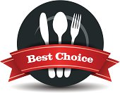 This image is a vector file representing a restaurant logo, plate with fork, knife and spoon.