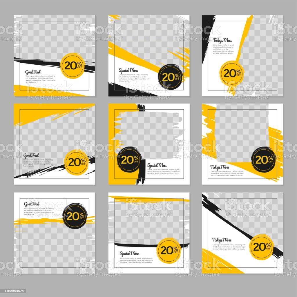 Restaurant Food Social Media Banner Post Design Template Stock Illustration Download Image Now Istock