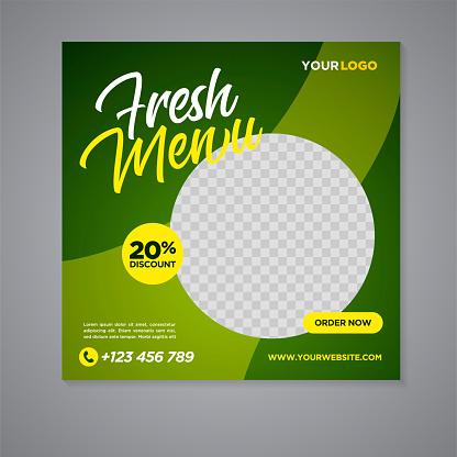 Restaurant food social media banner post design template