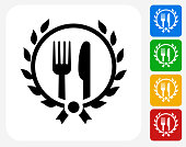 Restaurant Fork and Knife Icon Flat Graphic Design