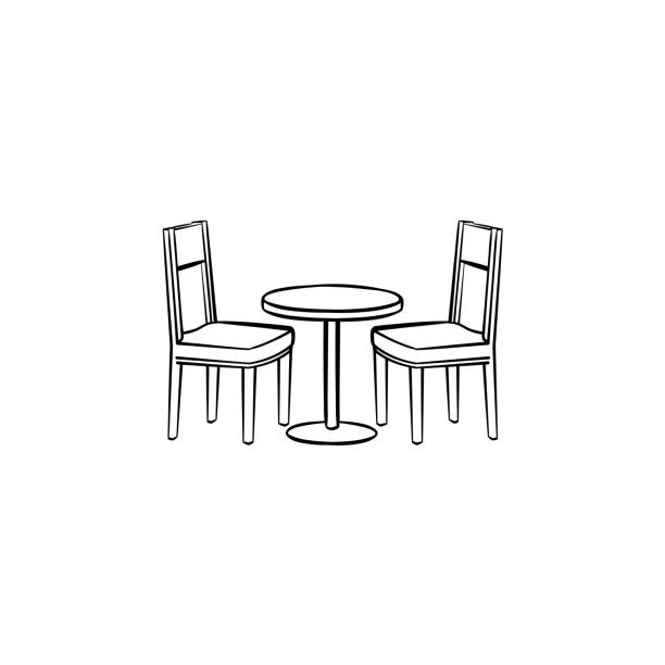 レストラン家具手描きのスケッチ アイコン - テーブル 無人点のイラスト素材/クリップアート素材/マンガ素材/アイコン素材