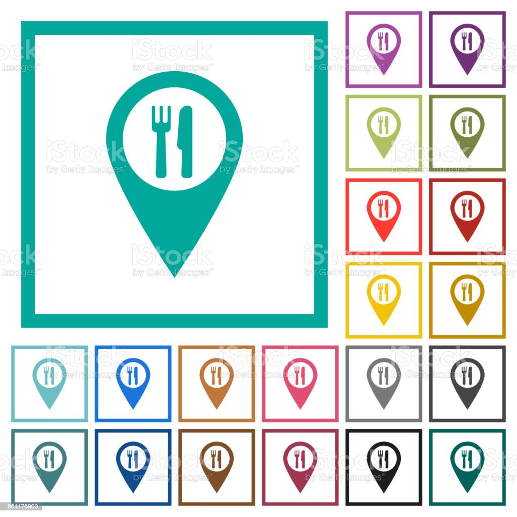 Restaurant GPS map location flat color icons with quadrant frames royalty-free restaurant gps map location flat color icons with quadrant frames stock vector art & more images of button - sewing item