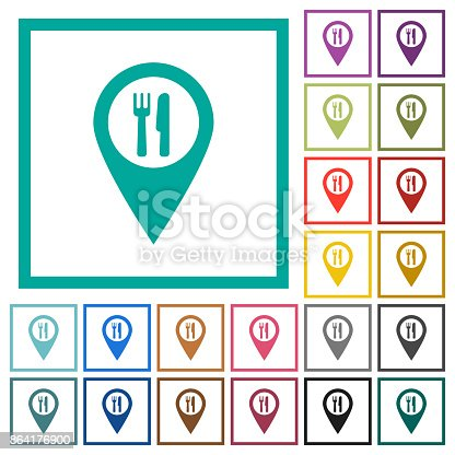 Restaurant Gps Map Location Flat Color Icons With Quadrant Frames Stock Vector Art & More Images of Button - Sewing Item 864176900