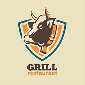 Restaurant, grill, beef dishes. Vector logo.