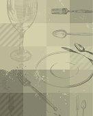 Restaurant grunge background design - vector illustration