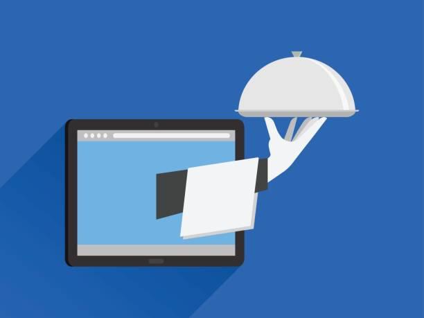 7fa2f93c7389 Restaurant Home Delivery Online Order vector art illustration