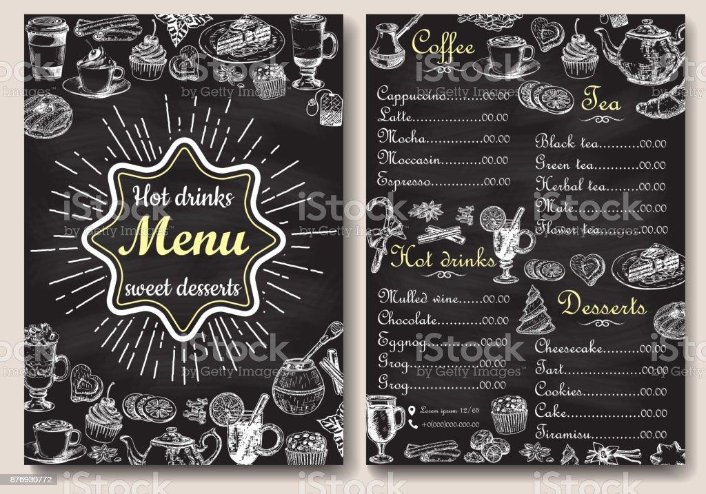 restaurant hot drinks menu design with chalkboard background vector illustration template in