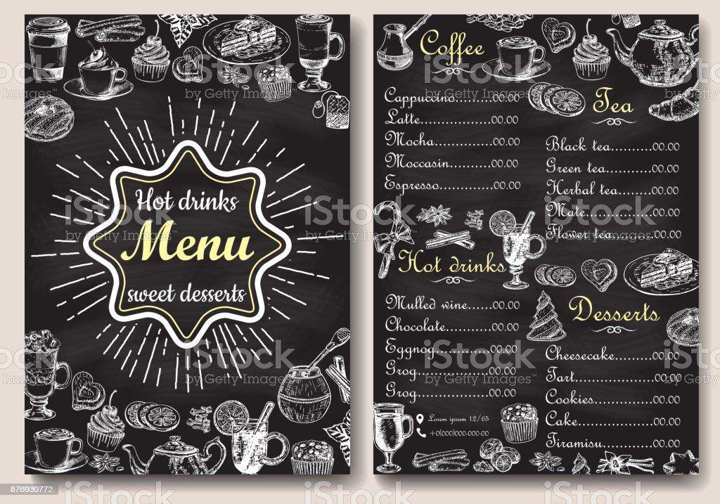 Restaurant chaud boissons conception de menu avec fond de tableau. Vector illustration modèle au style vintage. Style de dessinés à la main. Cacao, café, thé chaud, - Illustration vectorielle