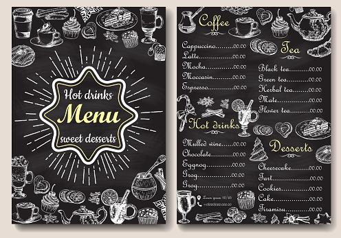 Restaurant Heiße Getränke Menügestaltung Mit Tafel Hintergrund Vektorillustrationvorlage Im Vintagestil Handgezeichnete Stil Heißen Tee Kaffee Kakao Stock Vektor Art und mehr Bilder von Altertümlich