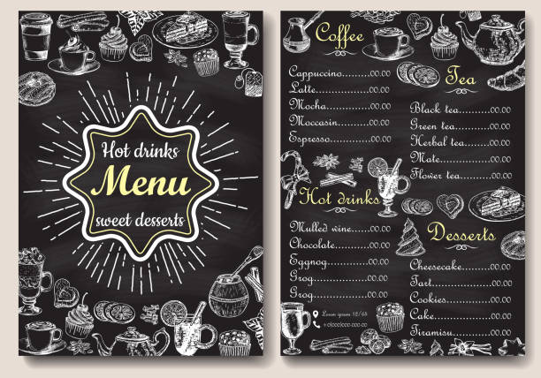 Restaurant hot drinks menu design with chalkboard background. Vector illustration template in vintage style. Hand drawn style. Hot tea, coffee, cacao Restaurant hot drinks menu design with chalkboard background. Vector illustration template in vintage style. Hand drawn style. cafe stock illustrations