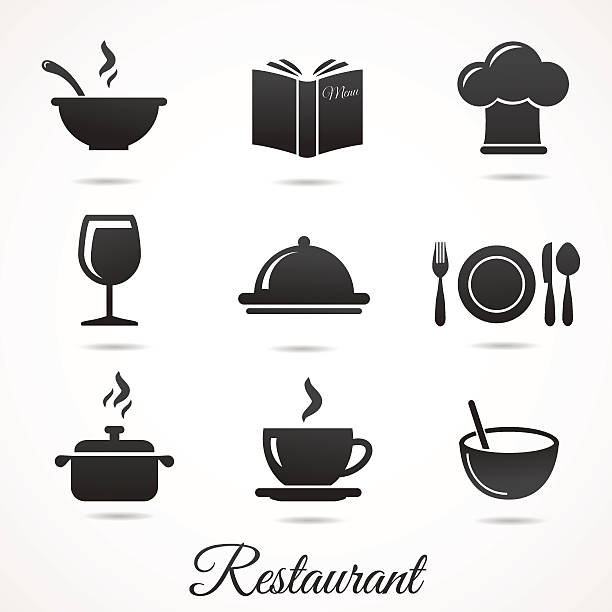 Restaurant icon collection isolated on white backround. Vector illustration: restaurant icon set. Cup, bowl, plate, pot, menu, hat etc. cooking silhouettes stock illustrations