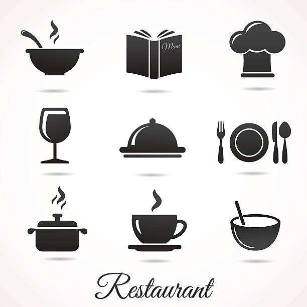 ilustrações de stock, clip art, desenhos animados e ícones de ícones de restaurante de coleção isolados no branco de fundo. - tigela
