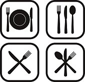Restaurant icon - four variations