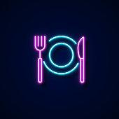 Restaurant Icon Neon Style, Design Elements