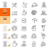Restaurant icon set. Editable stroke.