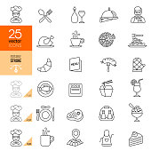 Restaurant icon set. Editable stroke.