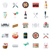 A set of restaurant and dining icons. File is built in the CMYK color space for optimal printing. Color swatches are global so it's easy to edit and change the colors.
