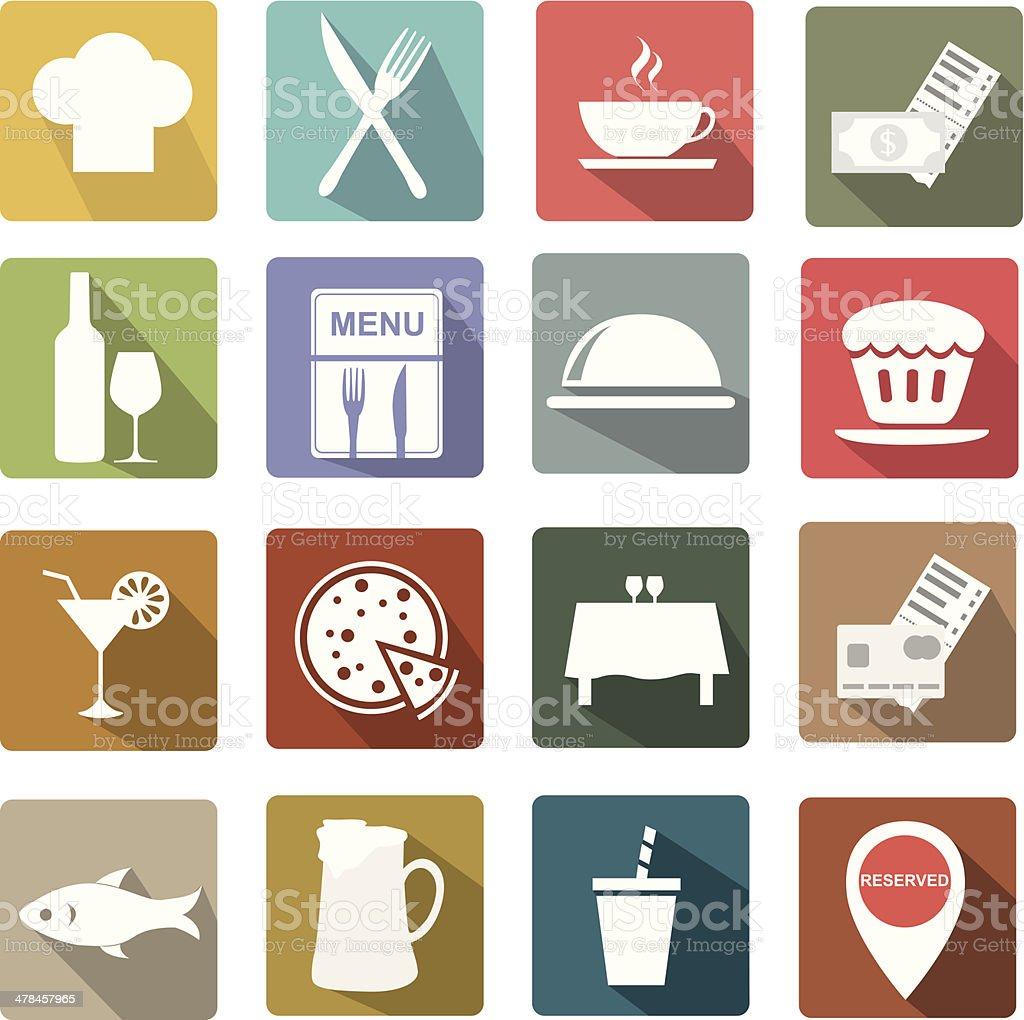 Restaurant icon set vector art illustration