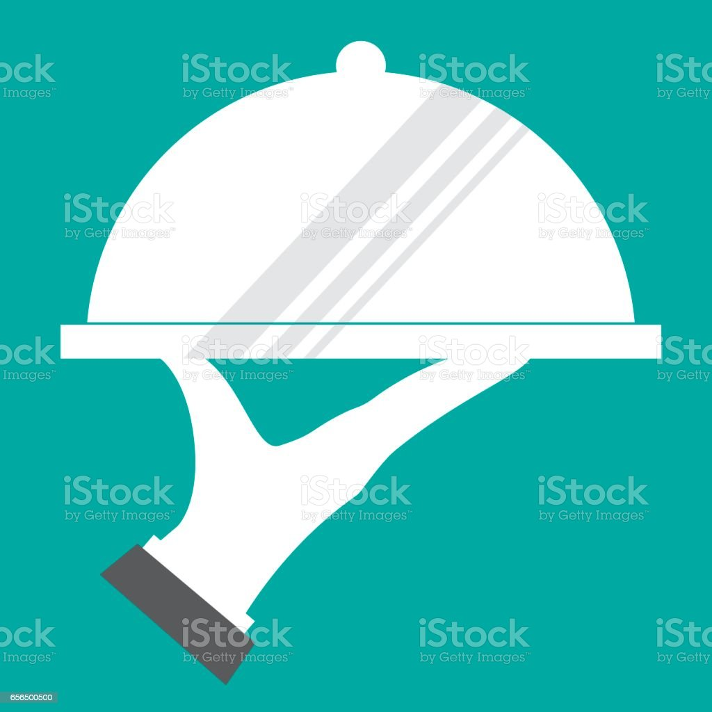 Restaurant icon with tray of plate in hand vector art illustration
