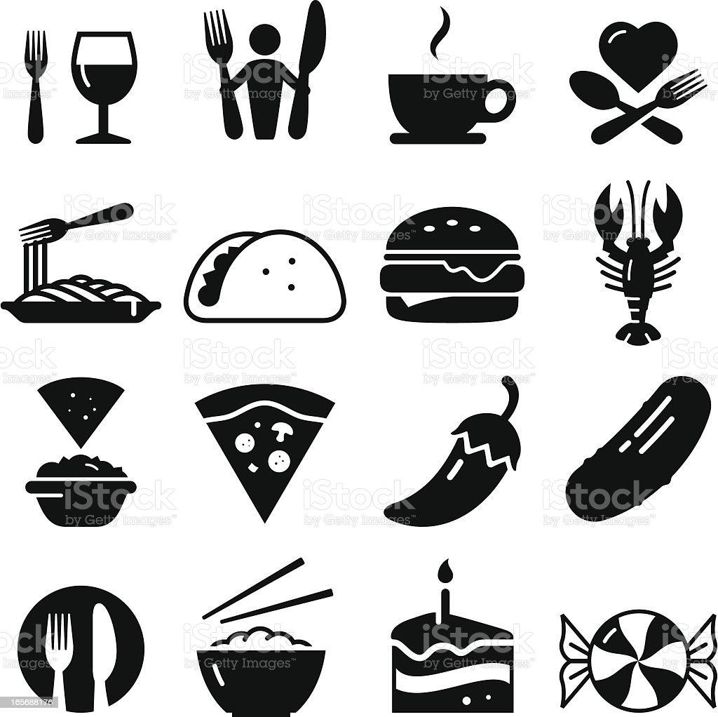 Restaurant Icons - Black Series vector art illustration
