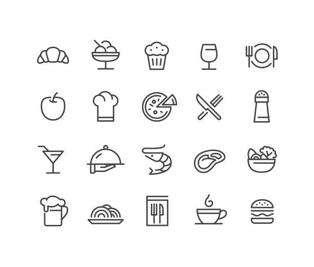 restaurant icons - classic line serie - restaurant stock-grafiken, -clipart, -cartoons und -symbole