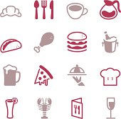 Vector file of Restaurant Icons - Color Series related vector icons for your design or application.Raw style. Files included: vector EPS, JPG. See more in this series.