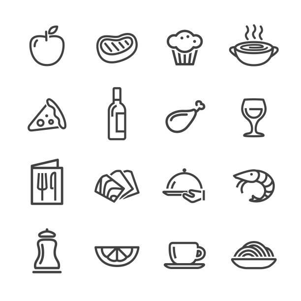Restaurant Icons - Line Series Restaurant, food, seafood, cooking, salt seasoning stock illustrations