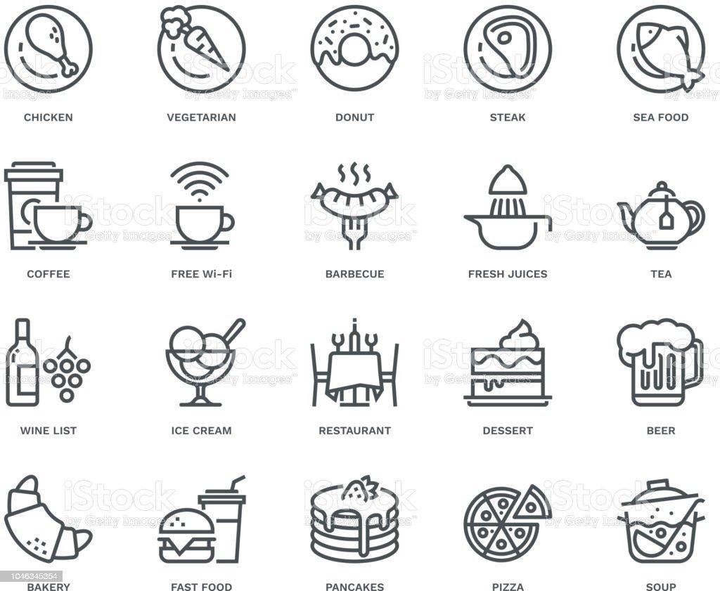 Restaurant-Ikonen, Monoline-Konzept – Vektorgrafik