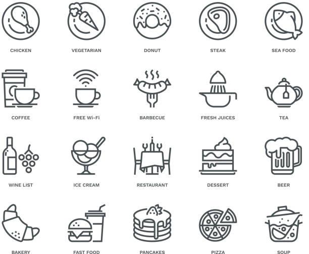 レストラン アイコン、モノラインのコンセプト - パンケーキ点のイラスト素材/クリップアート素材/マンガ素材/アイコン素材