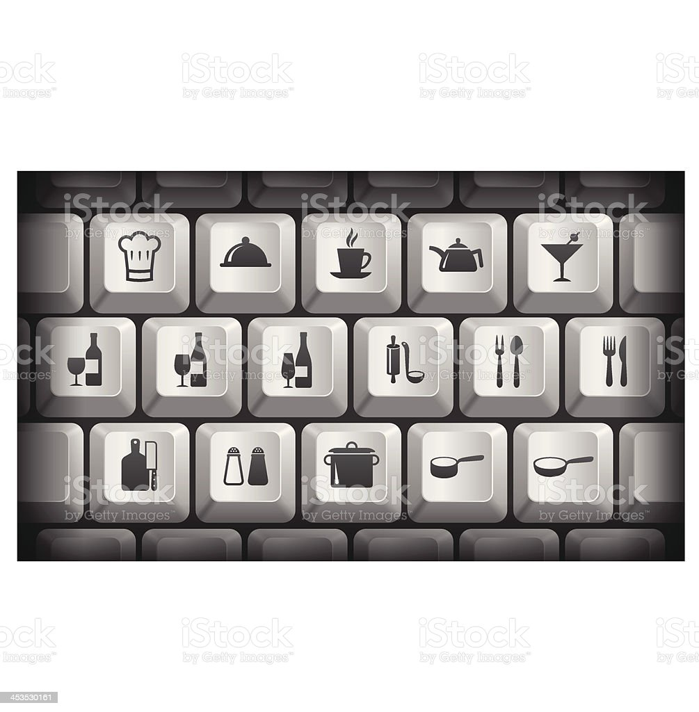 Restaurant Icons on Gray Computer Keyboard Buttons royalty-free stock vector art