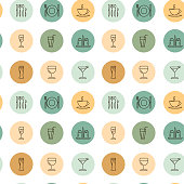 Restaurant icons seamless pattern isolated on white. Vector illustration