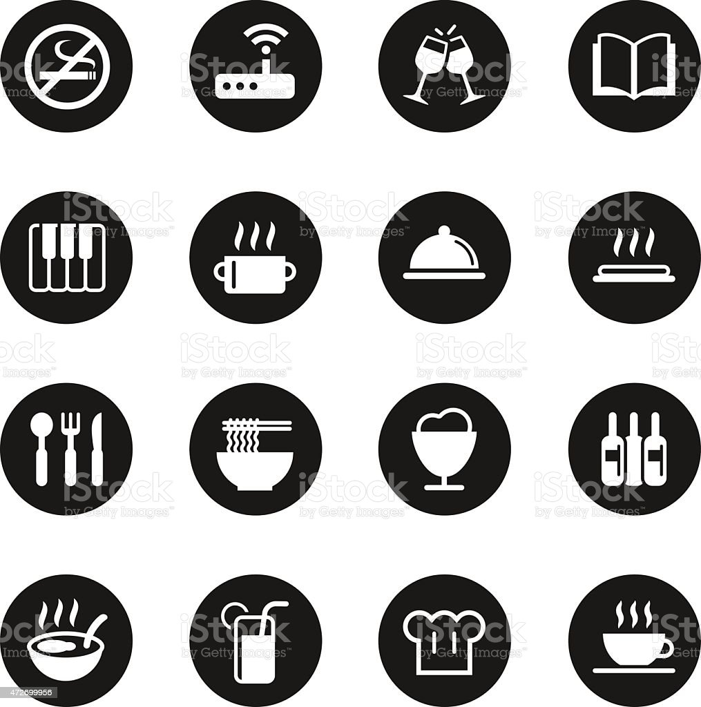 Restaurant Icons Set 2 - Black Circle Series vector art illustration