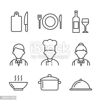 Restaurant icons set. Kitchen icons