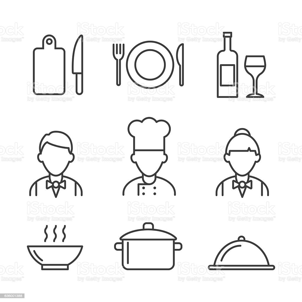 Restaurant icons set. Kitchen icons vector art illustration