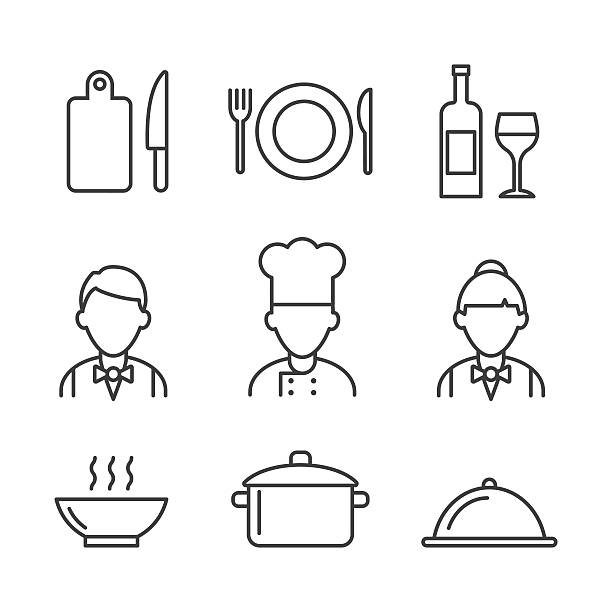ilustraciones, imágenes clip art, dibujos animados e iconos de stock de restaurant icons set. kitchen icons - chef