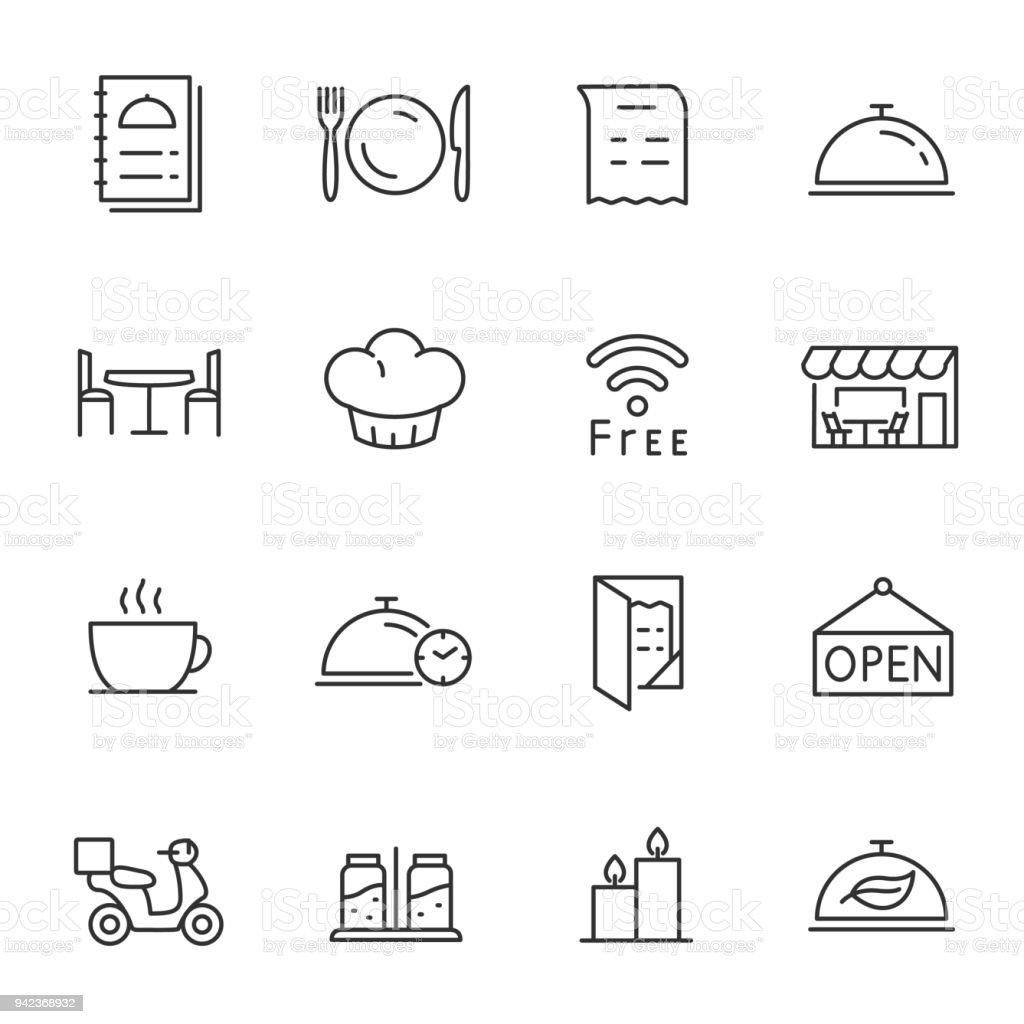 레스토랑, 아이콘 설정합니다. 편집 가능한 획 선 - 로열티 프리 개체 그룹 벡터 아트