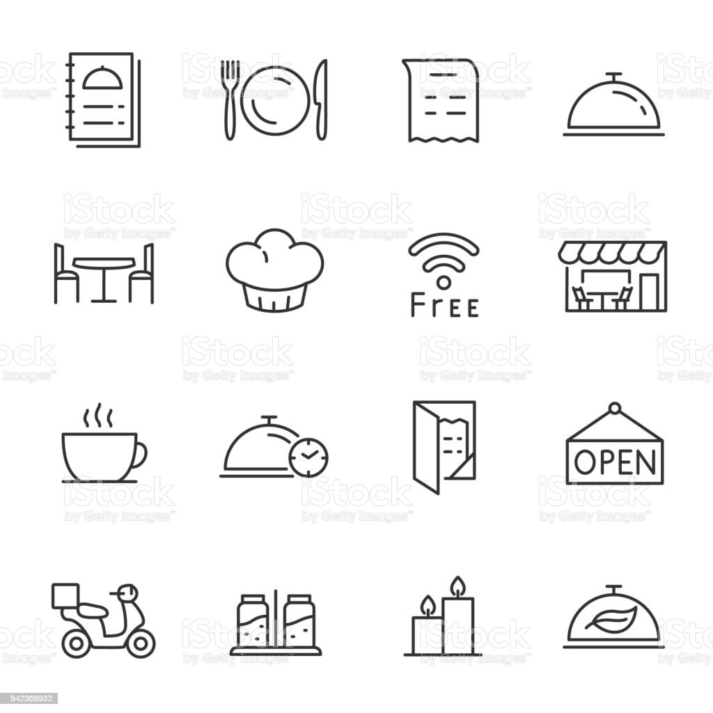 Restaurant, icons set. Line with Editable stroke