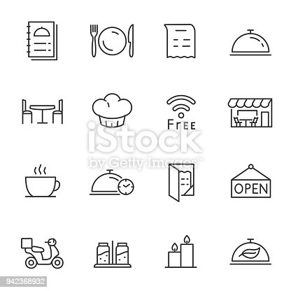 Restaurant, icons set. Collection of different icons. Line with Editable stroke