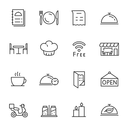 Restaurant, icons set. Line with Editable stroke clipart