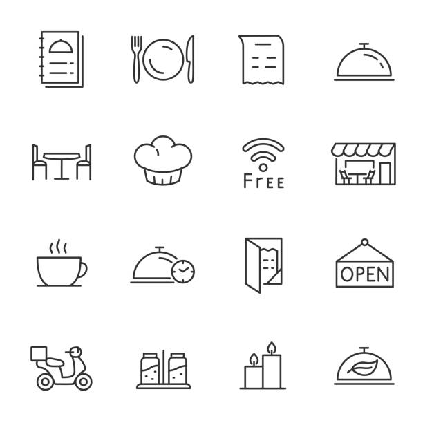 restaurant, icons set. line with editable stroke - cafe stock illustrations