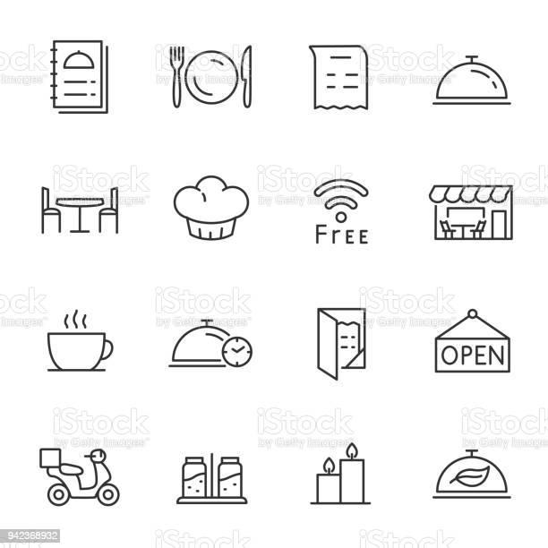 레스토랑 아이콘 설정합니다 편집 가능한 획 선 개체 그룹에 대한 스톡 벡터 아트 및 기타 이미지